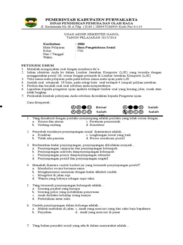 Soal Uas Ips Kelas 8 Semester 1 Kurikulum 2013 : kelas, semester, kurikulum, Kelas, 2015-2016, Kurikulum