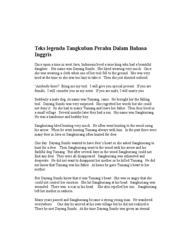 Cerita Sangkuriang Dalam Bahasa Inggris : cerita, sangkuriang, dalam, bahasa, inggris, Legenda, Tangkuban, Perahu, Dalam, Bahasa, Inggris