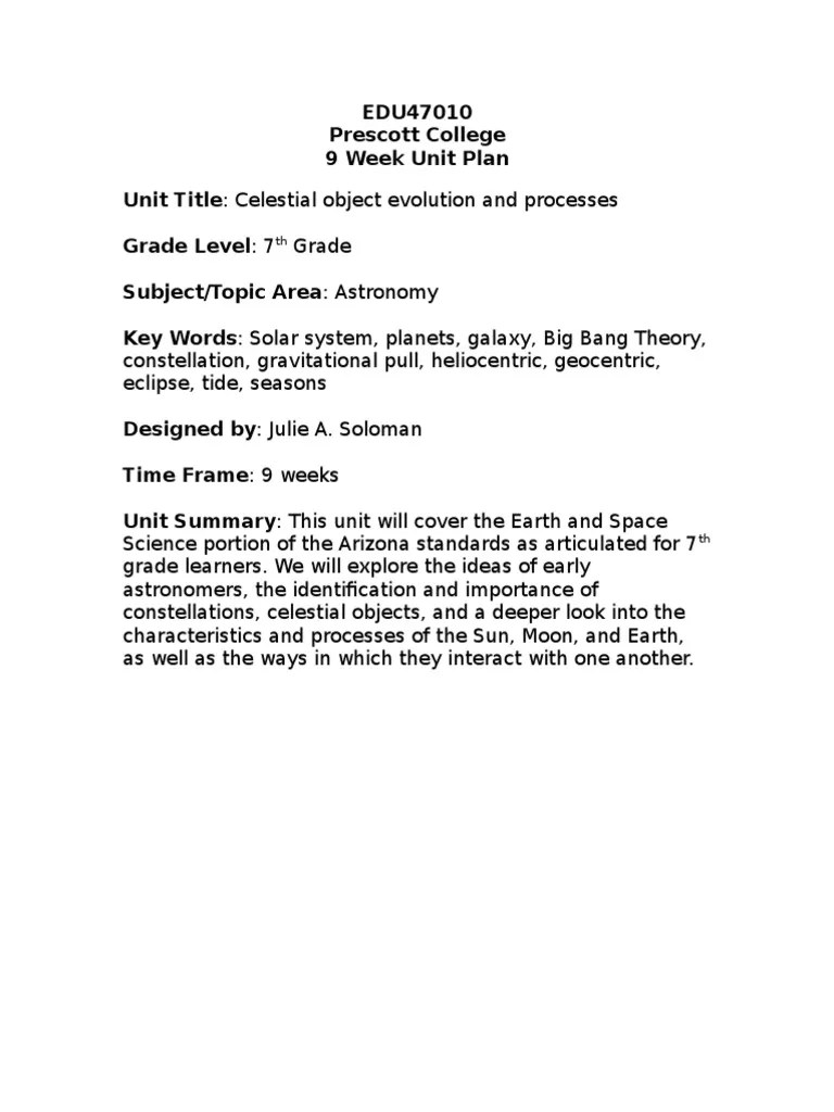 hight resolution of 7th grade astronomy unit plan   Planets   Solar System