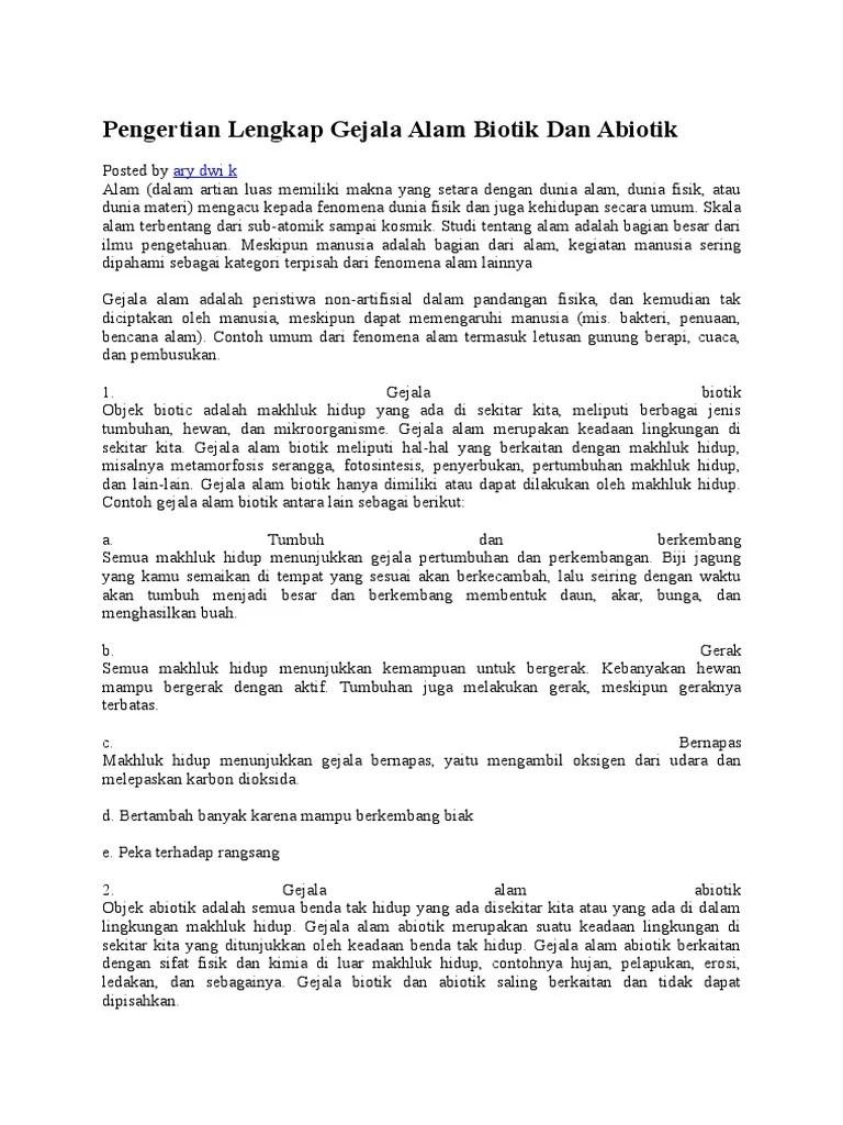 Pengertian Biotik Dan Abiotik : pengertian, biotik, abiotik, Pengertian, Lengkap, Gejala, Biotik, Abiotik