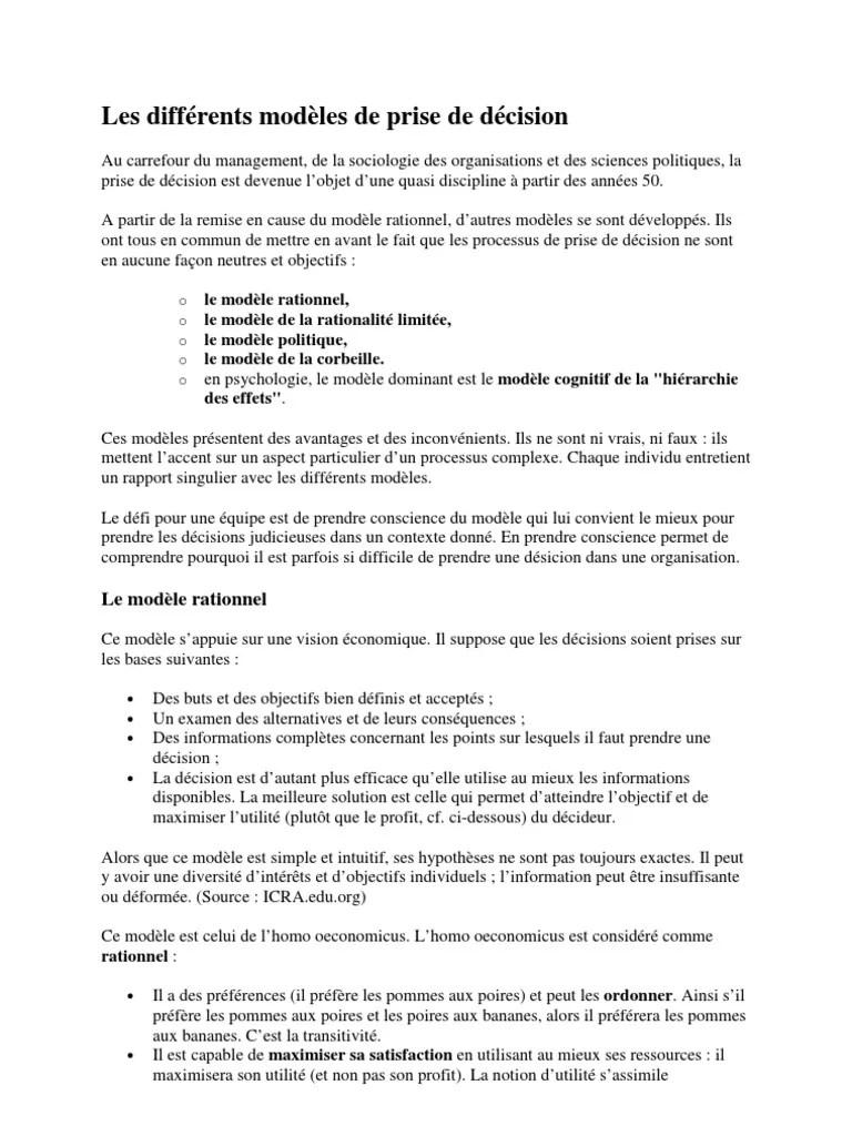 Avec Lui Les Solutions Sont Toujours Simples : solutions, toujours, simples, Différents, Modèles, Prise, Décision, Rationalité, Concept, Psychologie