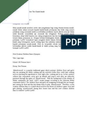 Sinopsis Tari Kreasi : sinopsis, kreasi, Sinopsis, Tarian, Kreasi, Kanak-Kanak, Permas, Indonesia, Linguistics