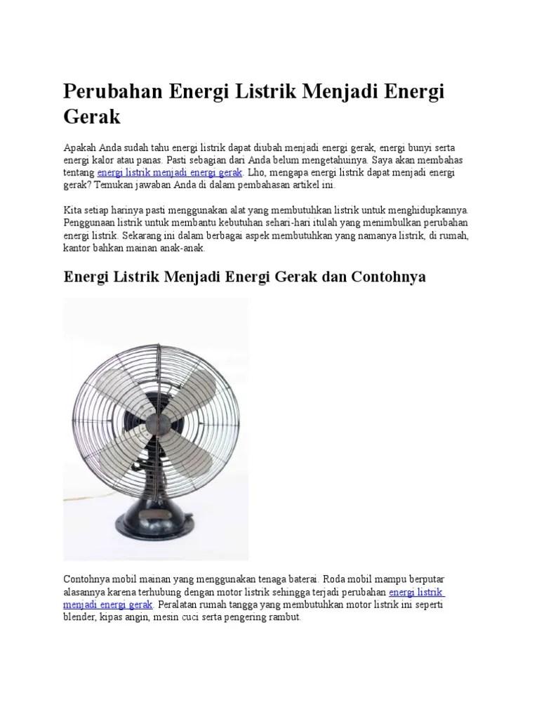 Contoh Energi Listrik Menjadi Gerak : contoh, energi, listrik, menjadi, gerak, Perubahan, Energi, Listrik, Menjadi, Gerak