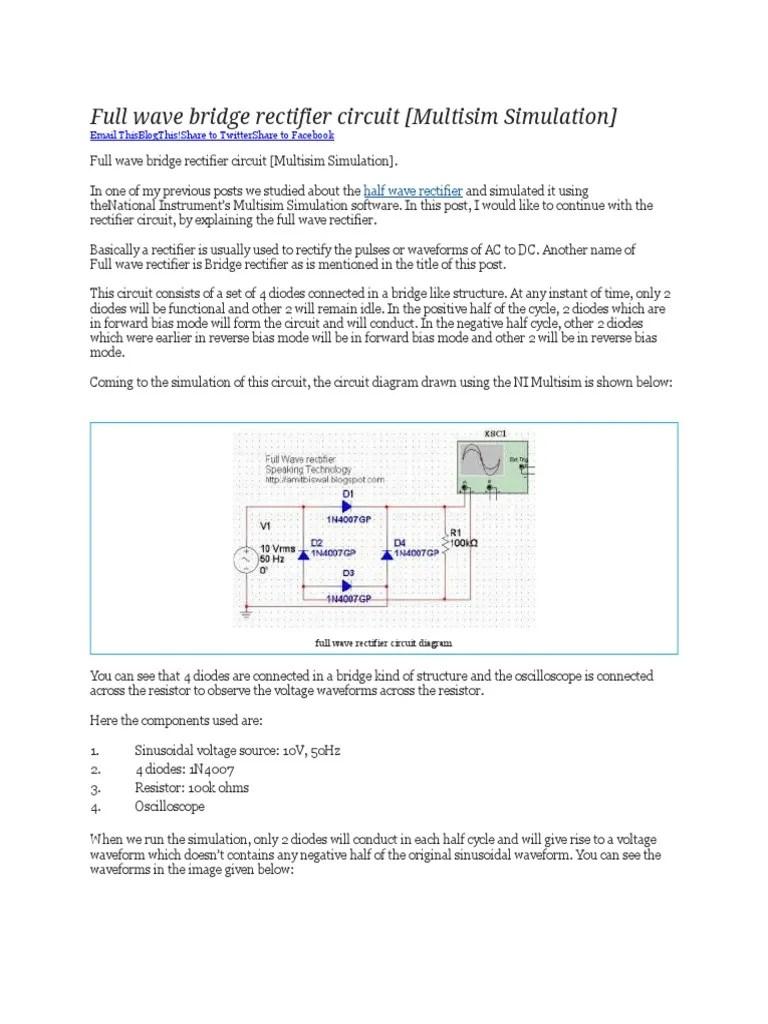 medium resolution of full wave bridge rectifier circuit multisim simulation docx rectifier capacitor