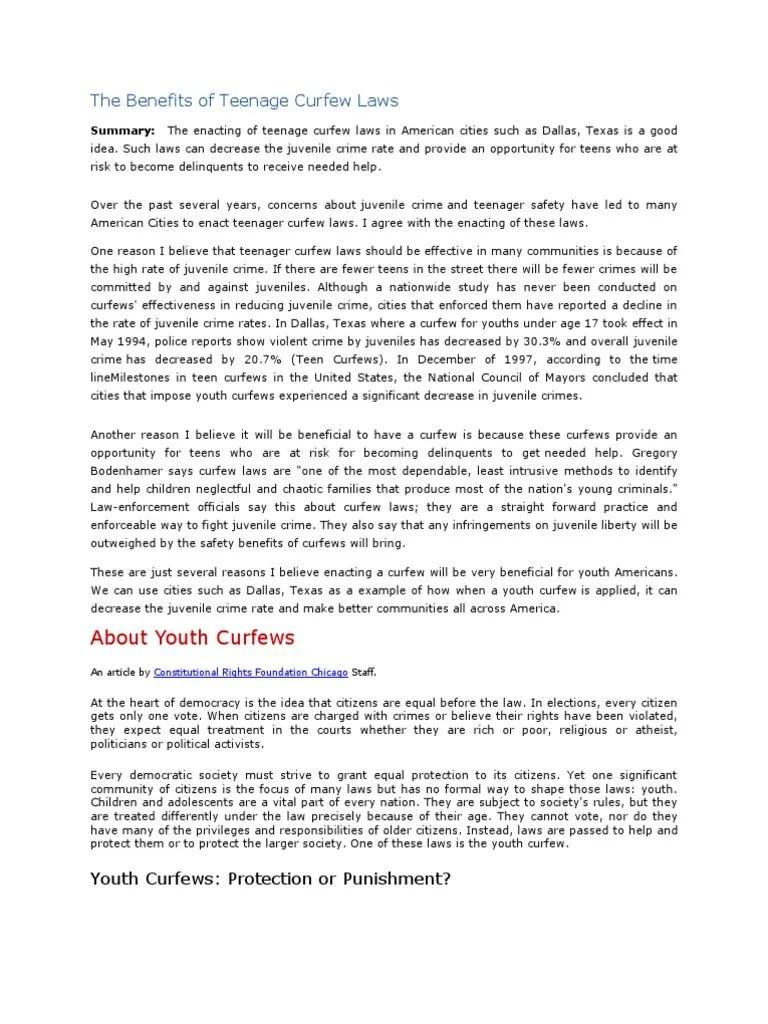 Teenage Curfew Essays The Benefits Of Teenage Curfew Laws Juvenile
