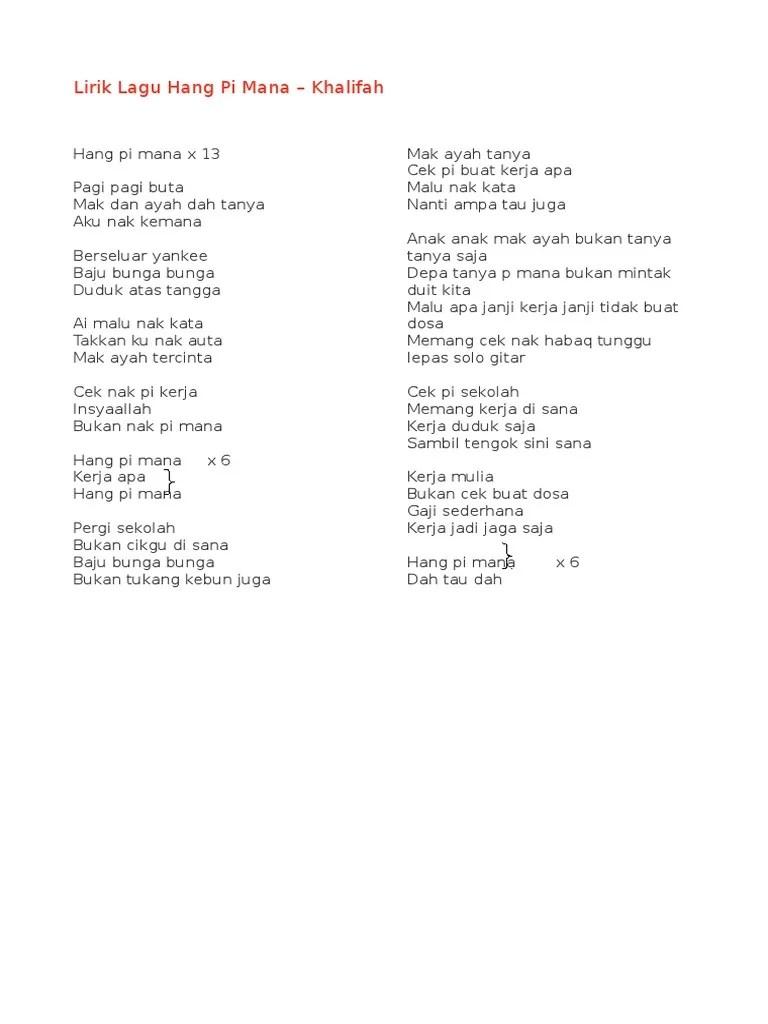 Khalifah - Hang Pi Raya (Official Lyrics Video) - YouTube