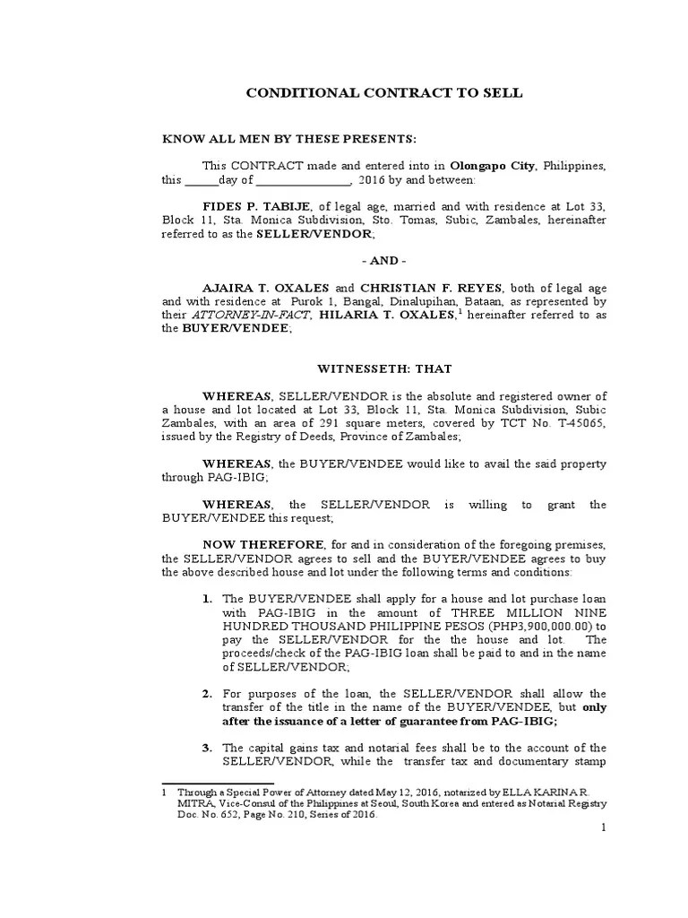Contract to Sell  PAGIBIG  Notary Public  Civil Law Common Law