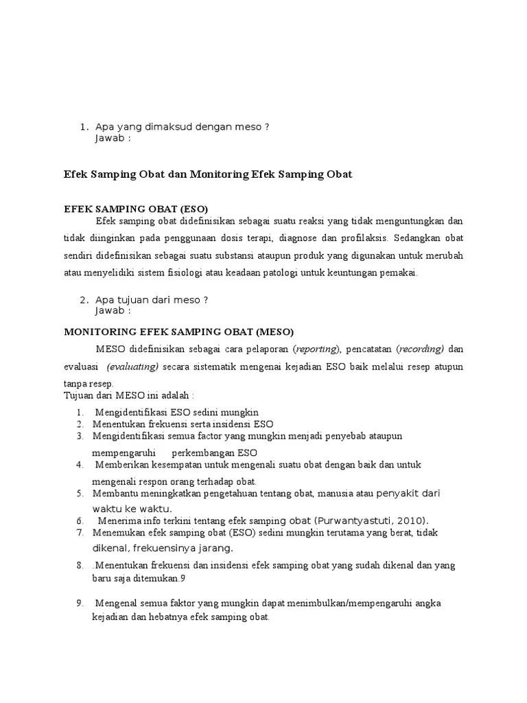 Efek Samping Obat Dan Monitoring Efek Samping Obat