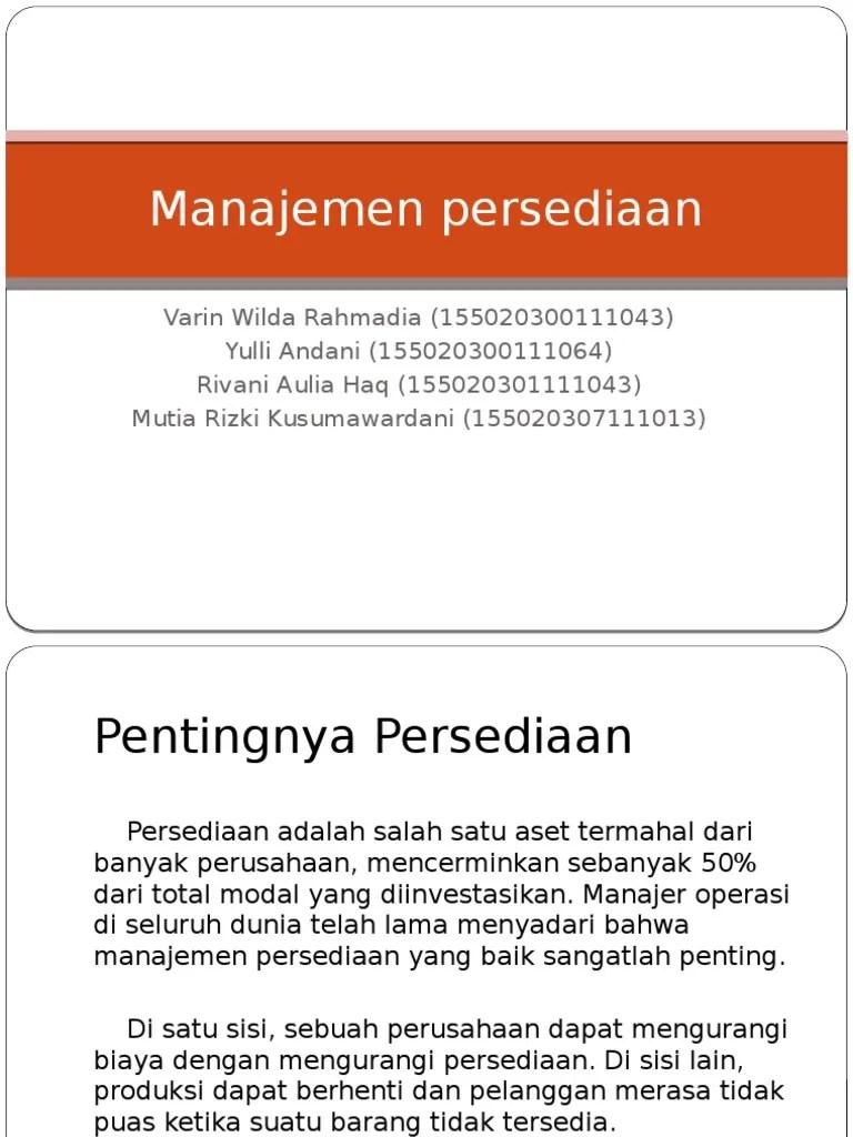 Manajemen Persediaan Ppt : manajemen, persediaan, Manajemen, Persediaan