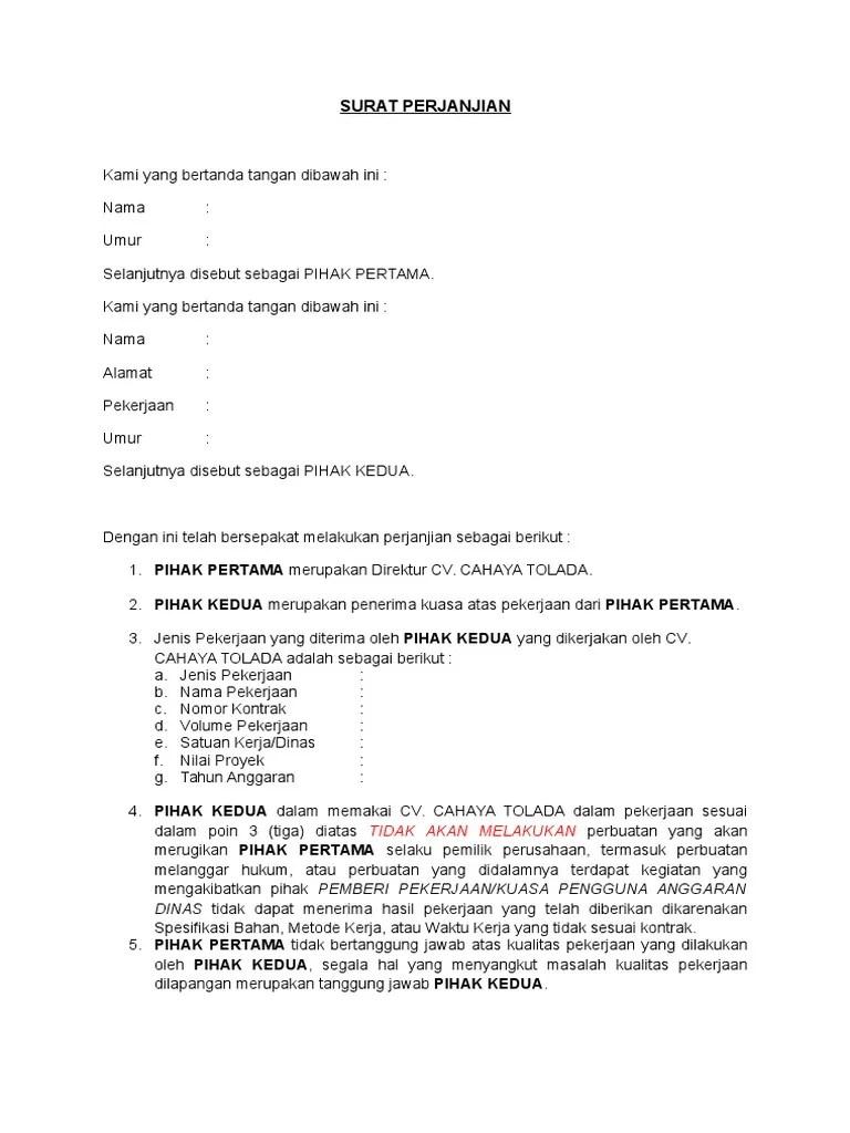 Contoh Surat Perjanjian Pinjam Nama Perusahaan Docx