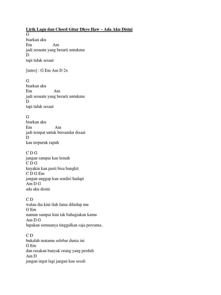 Chord Dhyo Haw Ada Aku Di Sini - Chord Gitar Indonesia