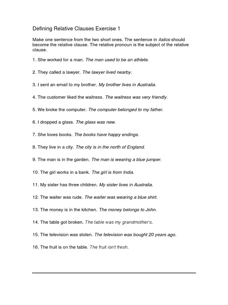 Defining Relative Clauses Exercise With Key   Sentence (Linguistics)    Waiting Staff [ 1024 x 768 Pixel ]