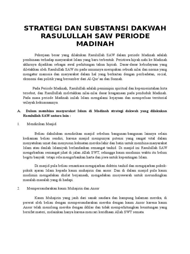 Strategi Dakwah Rasulullah Periode Madinah : strategi, dakwah, rasulullah, periode, madinah, Strategi, Substansi, Dakwah, Rasulullah, Periode, Madinah