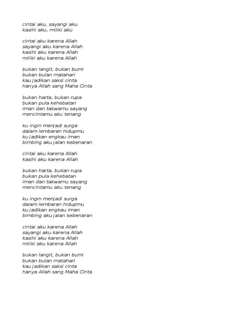 Lirik Lagu Cintai Aku Karena Allah - Wiwik Sagita