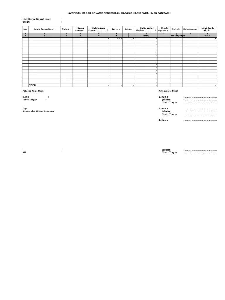 Laporan Stock Opname Excel Download : laporan, stock, opname, excel, download, Contoh, Format, Laporan, Stock, Opname, Terbaru, Cute766