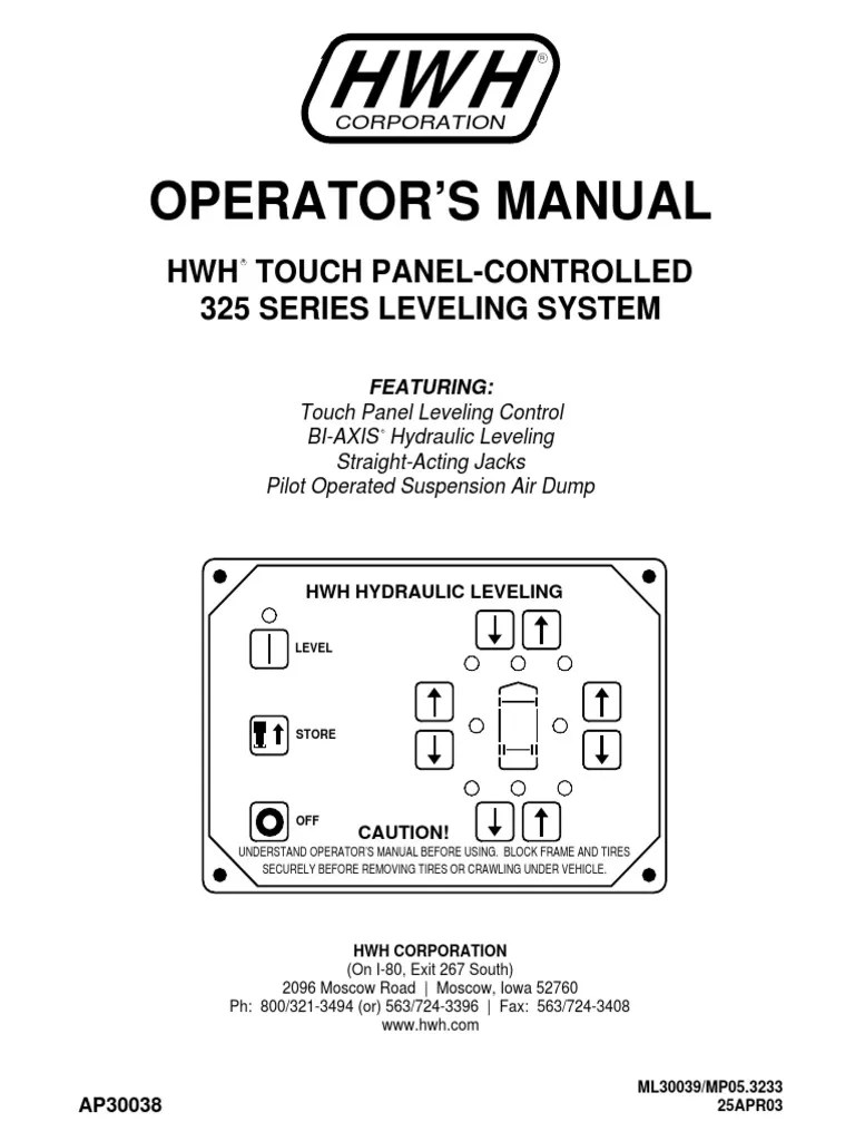 medium resolution of operator s manual hwh touch controlled 325 series leveling system vehicles valve