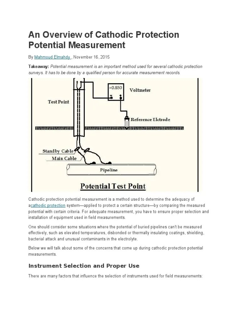 an overview of cathodic protection potential measurement chemistry electrical engineering [ 768 x 1024 Pixel ]