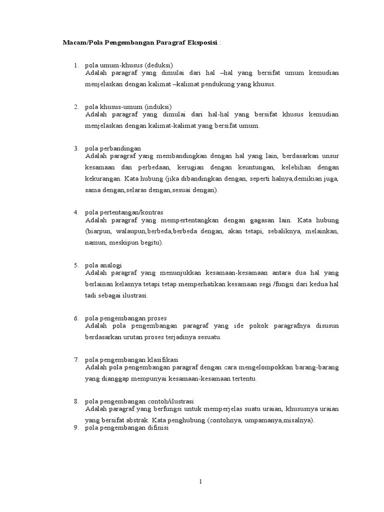 Pola Pengembangan Paragraf Eksposisi : pengembangan, paragraf, eksposisi, Pengembangan, Paragraf, Eksposisi