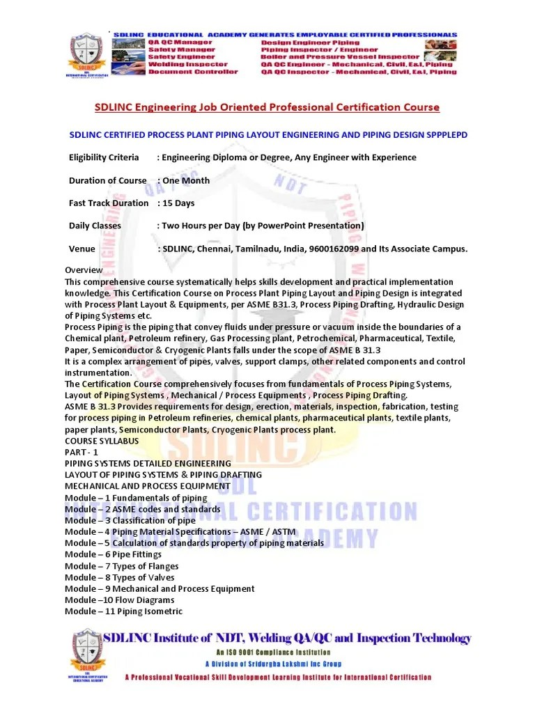 medium resolution of 53 sdlinc certified process plant piping layout engineering and53 sdlinc certified process plant piping layout engineering