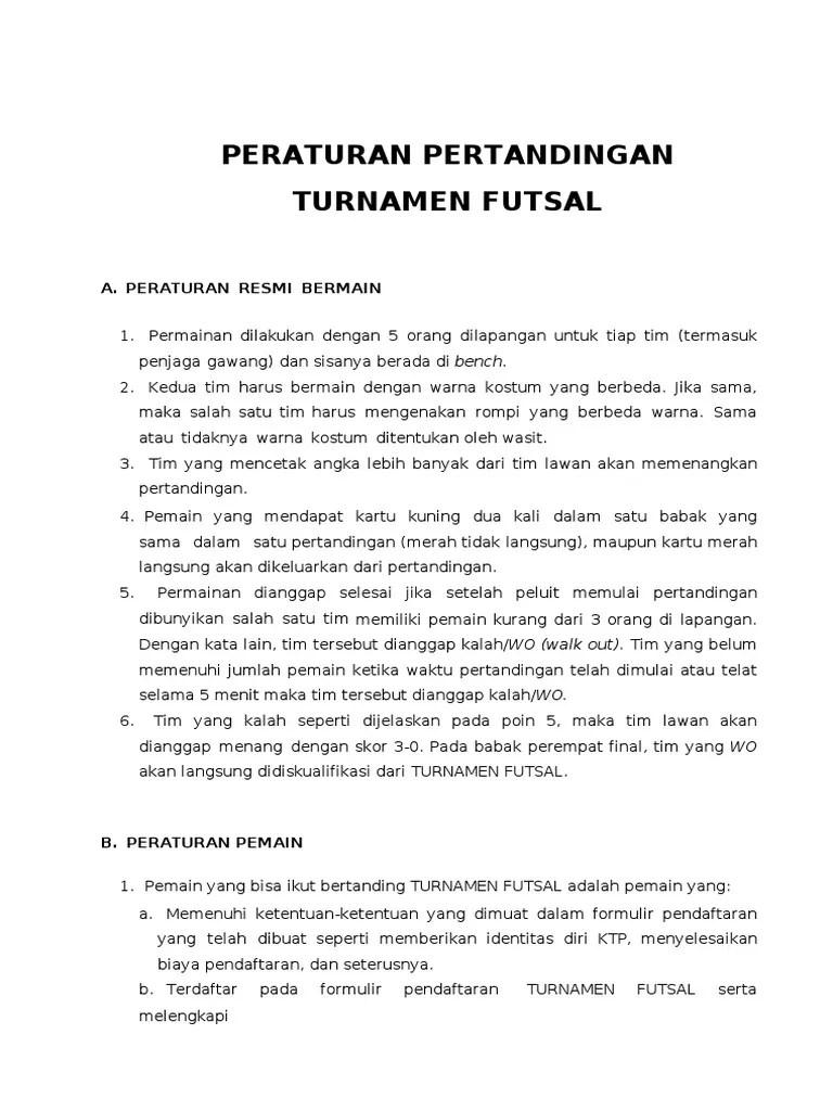 Peraturan Bola Futsal : peraturan, futsal, Peraturan, Permainan, Turnamen, Futsal