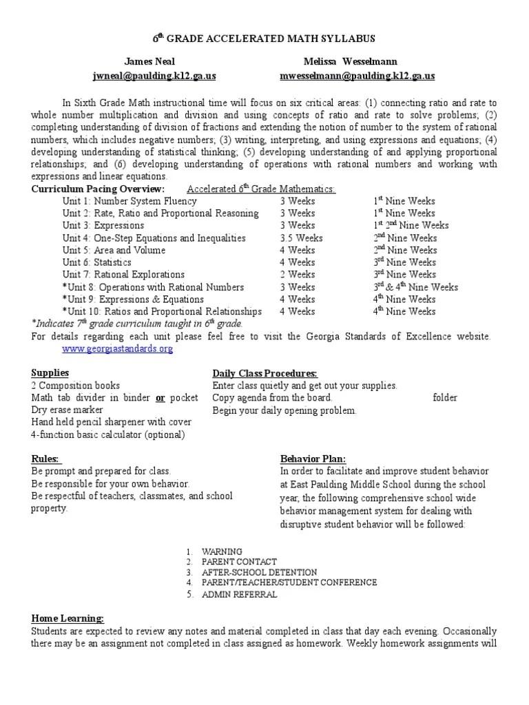 6th grade accelerated math syllabus 2016-2017   Homework   Educational  Assessment [ 1024 x 768 Pixel ]
