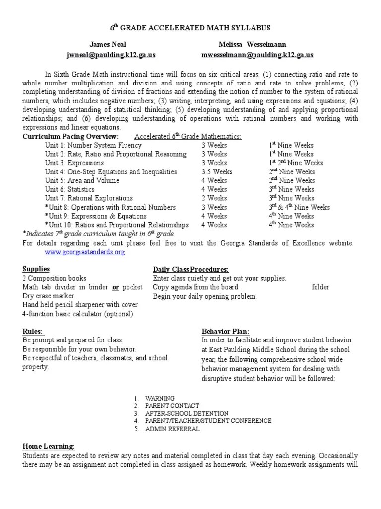 hight resolution of 6th grade accelerated math syllabus 2016-2017   Homework   Educational  Assessment