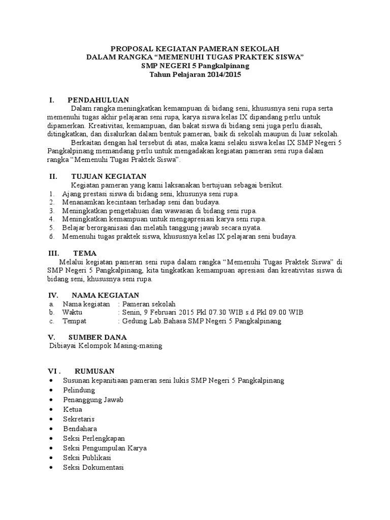 Tujuan Pameran Sekolah : tujuan, pameran, sekolah, Proposal, Kegiatan, Pameran, Sekolah, Dalam