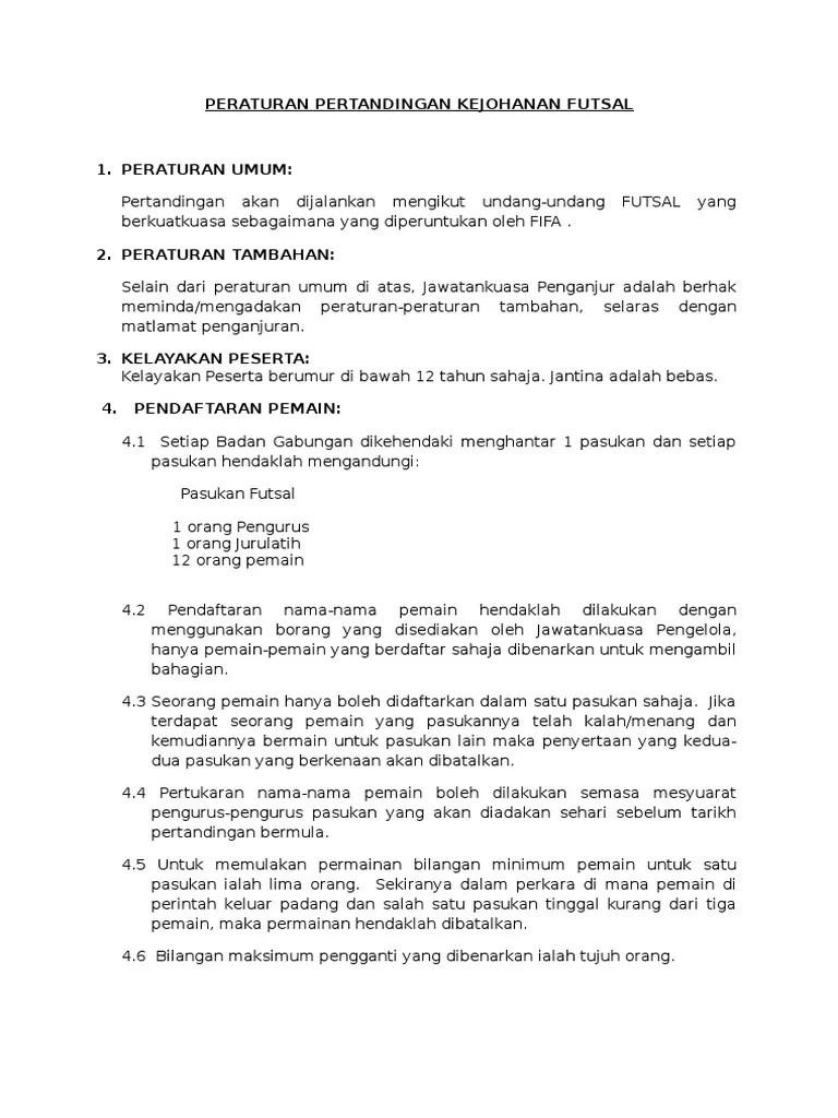 Peraturan Permainan Futsal : peraturan, permainan, futsal, FUTSAL