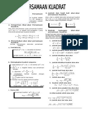 Materi Persamaan Kuadrat Pdf : materi, persamaan, kuadrat, Materi, Persamaan, Kuadrat, LENGKAP, PRINT