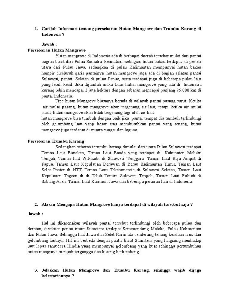 Peta Persebaran Hutan Mangrove Di Indonesia : persebaran, hutan, mangrove, indonesia, Carilah, Informasi, Tentang, Persebaran, Hutan, Mangrove, Trumbu, Karang, Indonesia.docx