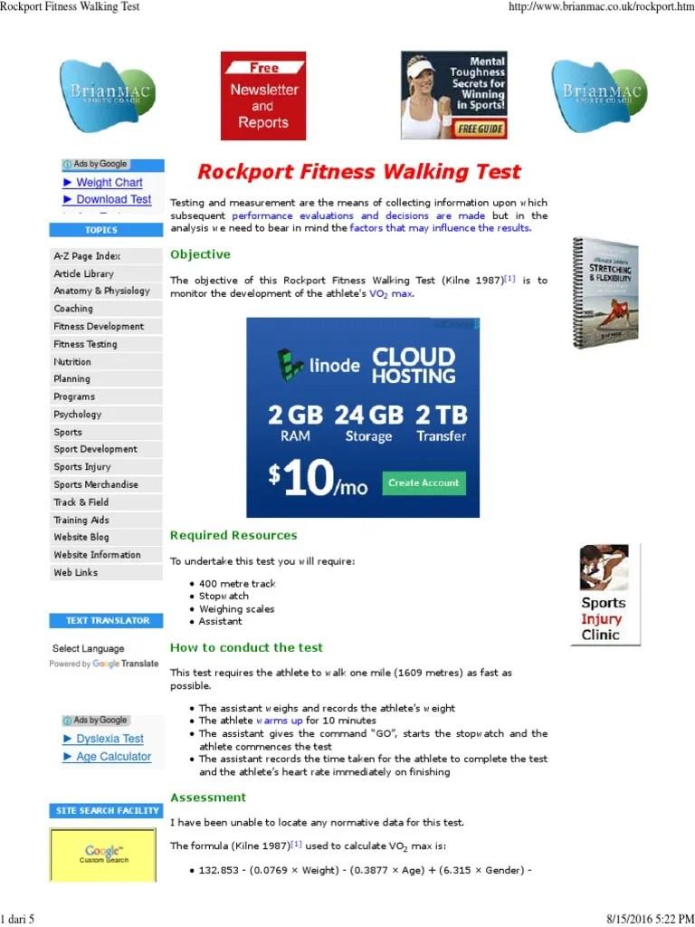 2000 Mackenzie Rockport Fitness Walking Test Heart Rate Validity Statistics