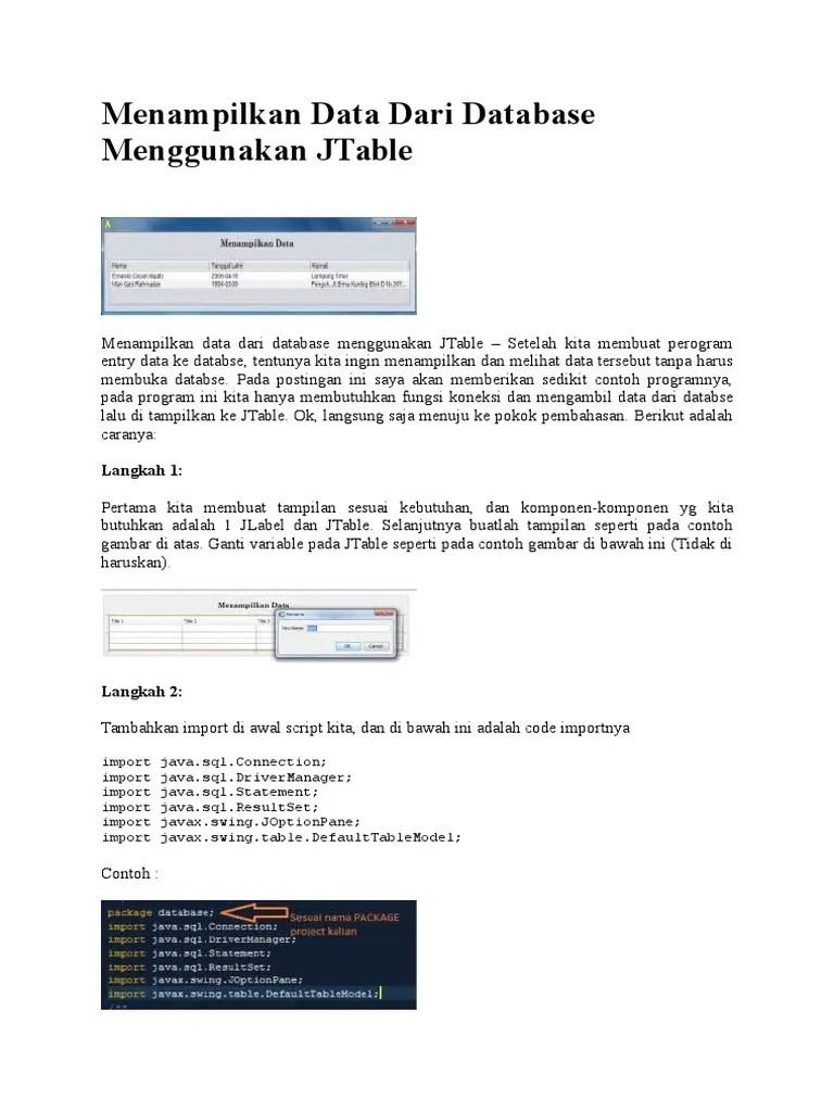 Java Swing : Teknik Menampilkan Data Pada JTable - Agung