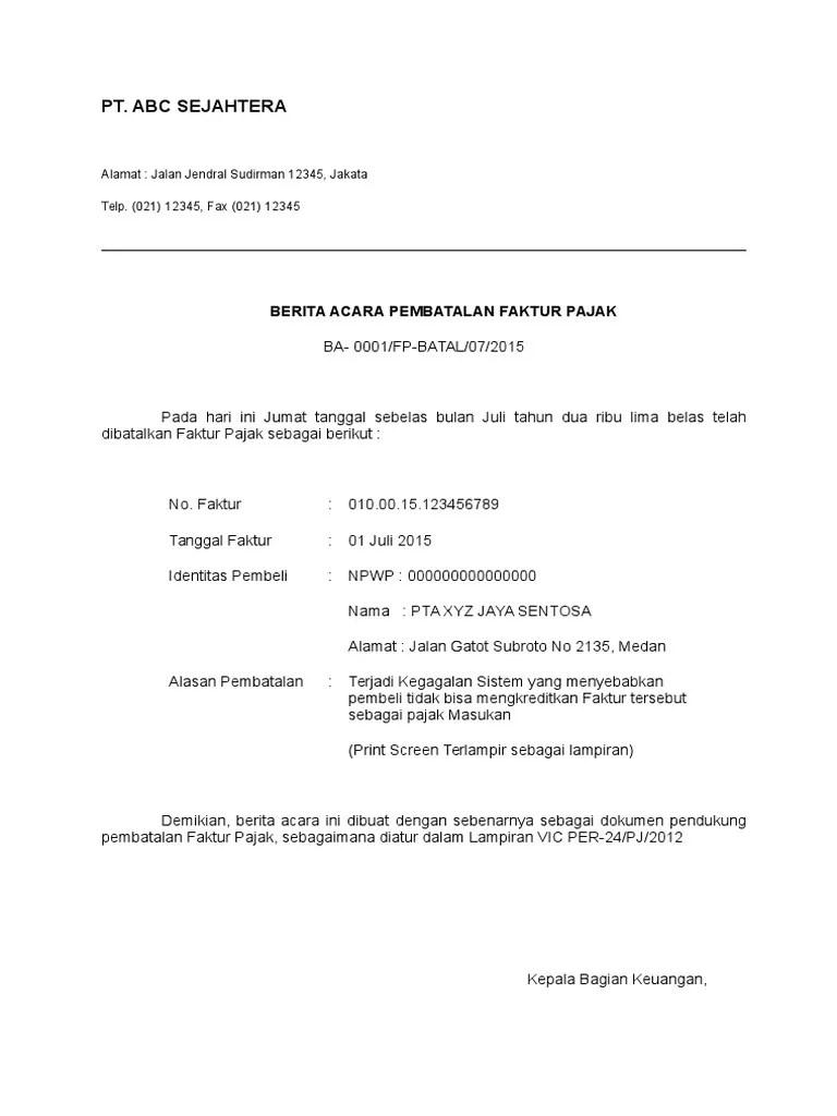 Surat Pembatalan Faktur Pajak : surat, pembatalan, faktur, pajak, Contoh, Surat, Pembatalan, Faktur, Pajak, Masukan