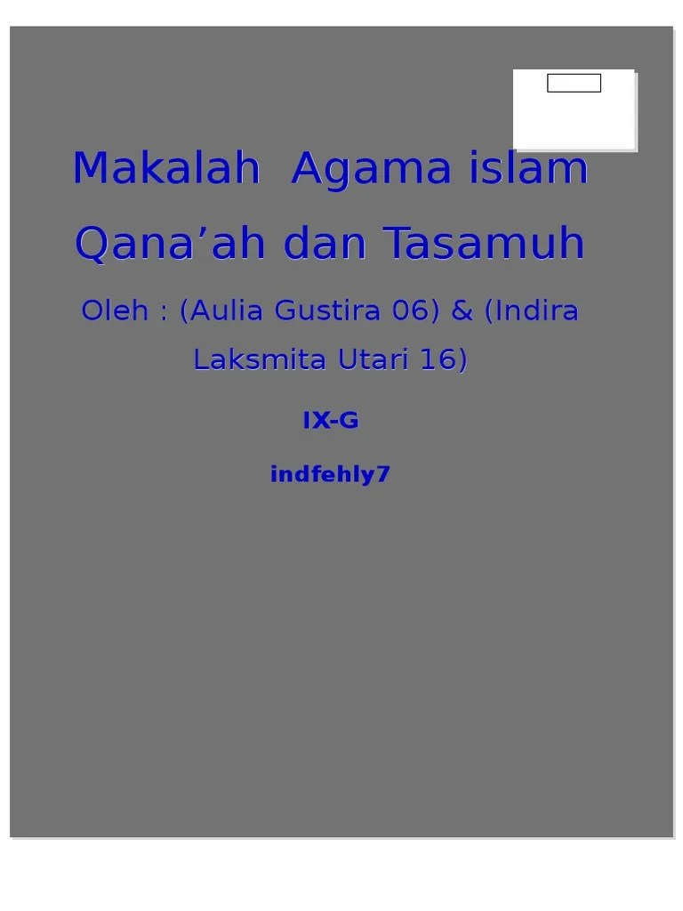 Dalil Qanaah Dan Tasamuh : dalil, qanaah, tasamuh, Agama~Qana'ah, Tasamuh