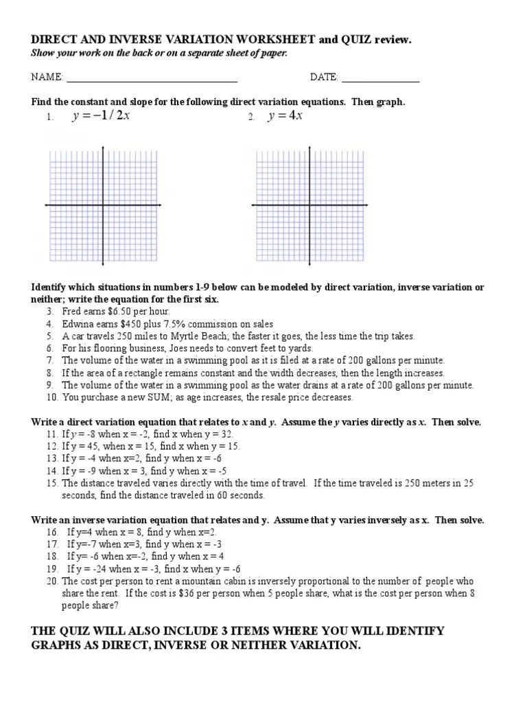 small resolution of Direct and Inverse Variation Worksheet   Astronomical Unit   Ratio