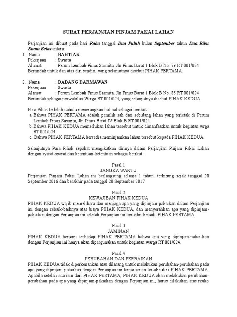 Perjanjian Pinjam Pakai : perjanjian, pinjam, pakai, Surat, Perjanjian, Pinjam, Pakai, Lahan