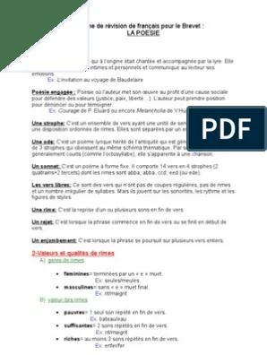 Fiche Revision Brevet Francais Pdf : fiche, revision, brevet, francais, Fiche, Révision, Français, Brevet, Poésie