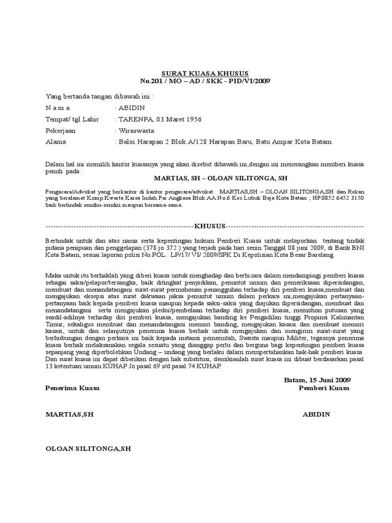 Contoh Surat Kuasa Pengaduan Polisi Kumpulan Contoh Cute766