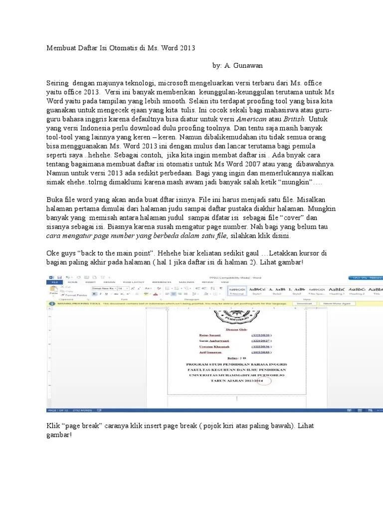 Membuat Daftar Isi Otomatis Word 2013 : membuat, daftar, otomatis, Membuat, Daftar, Otomatis