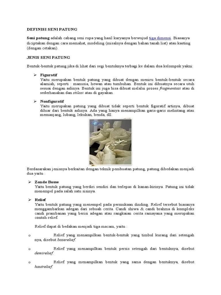 Teknik Pembuatan Relief : teknik, pembuatan, relief, Jenis, Patung