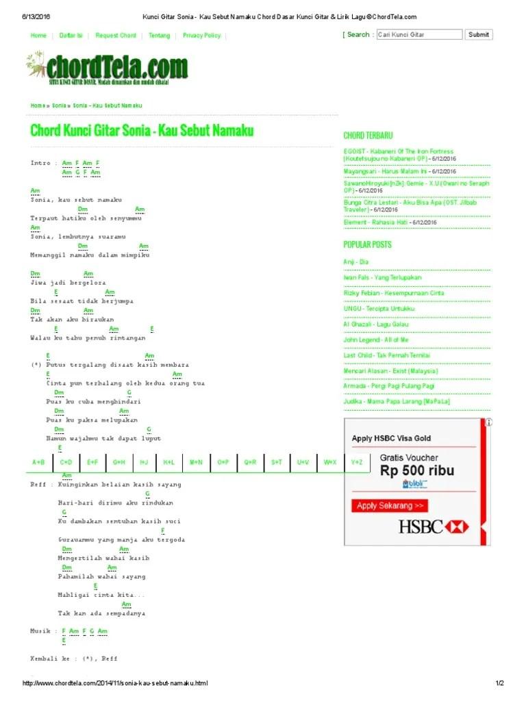 Lirik Lagu Kau Sebut Namaku : lirik, sebut, namaku, Kunci, Gitar, Sonia, Sebut, Namaku, Chord, Dasar, Lirik, ©ChordTela