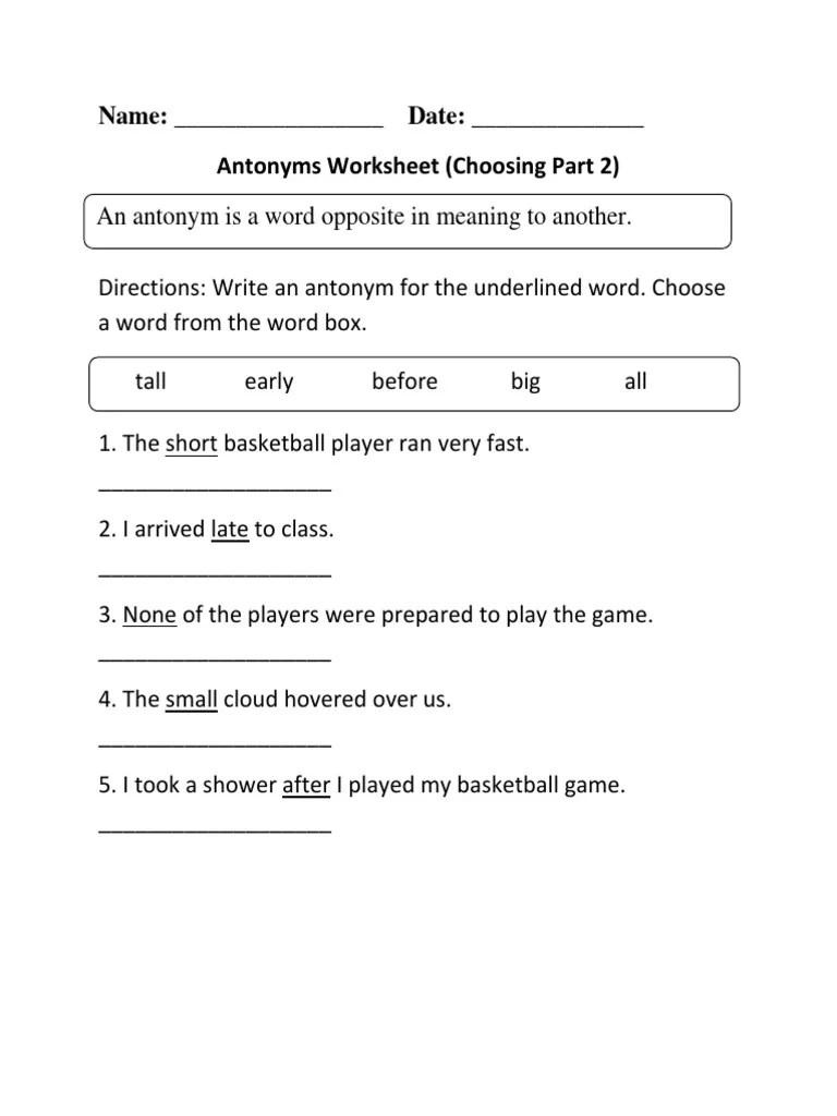 Name: Date: Antonyms Worksheet (Choosing Part 2) [ 1024 x 768 Pixel ]