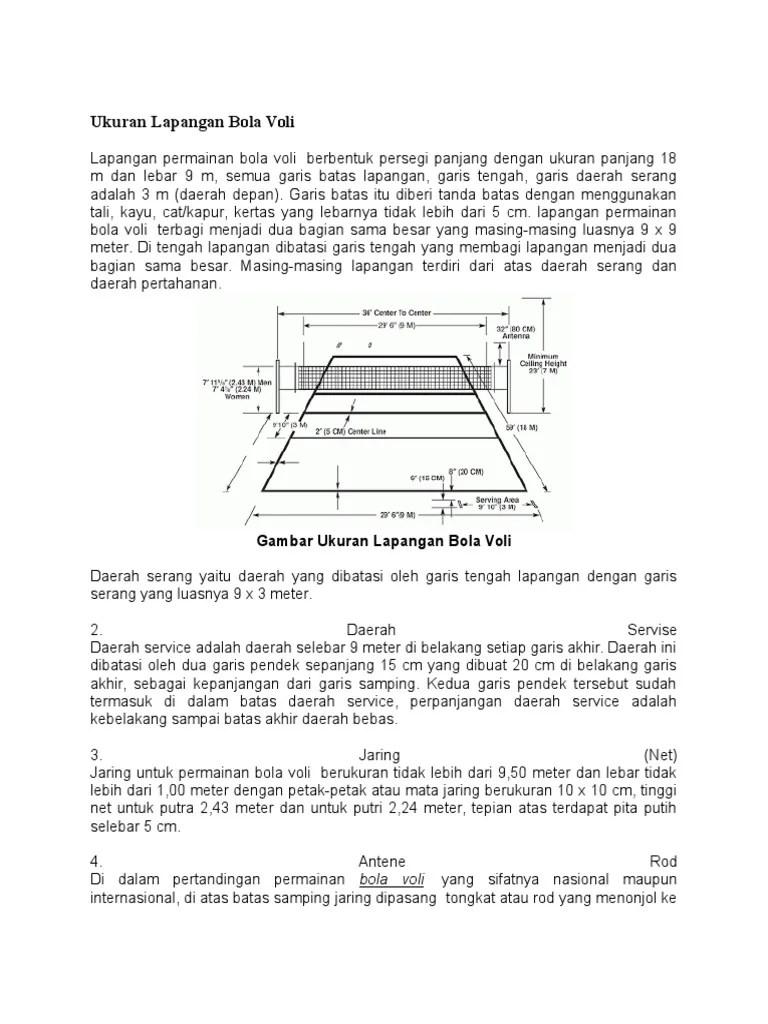 Ukuran Lapangan Bola Voli | Putra, Putri, Voli Mini dan