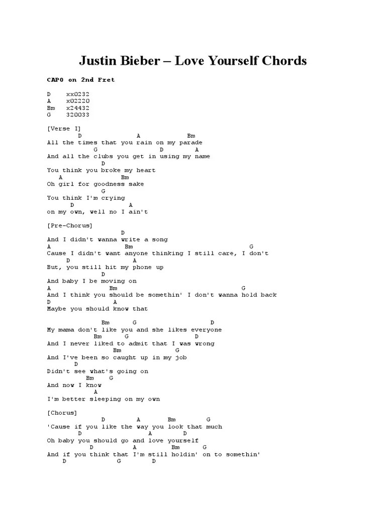Love Yourself Chords : yourself, chords, Chord, Justin, Bieber, Yourself