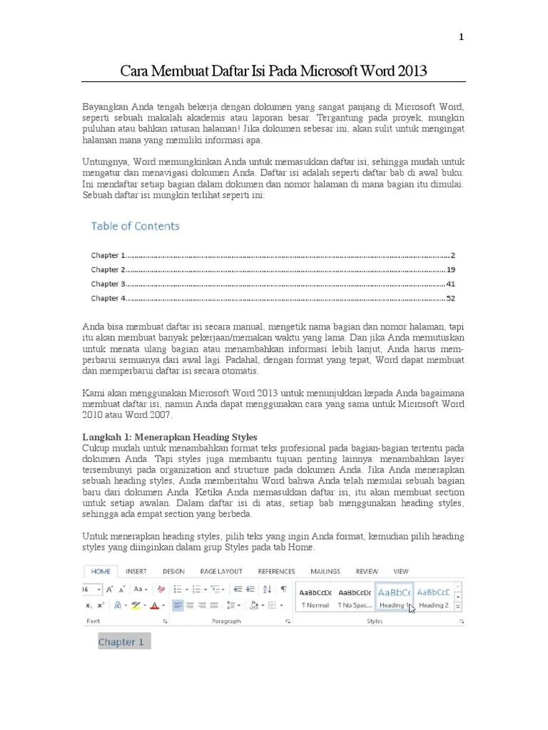 Membuat Daftar Isi Otomatis Word 2013 : membuat, daftar, otomatis, Membuat, Daftar, Microsoft