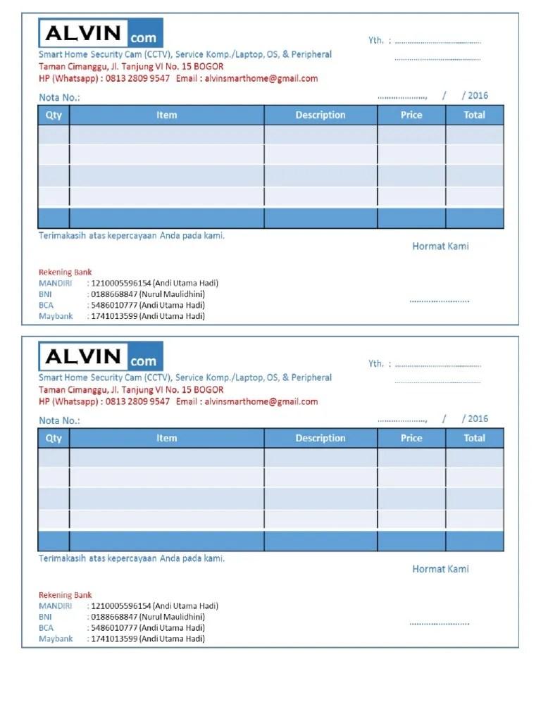 Contoh Nota Service Komputer : contoh, service, komputer, Contoh, Alvin