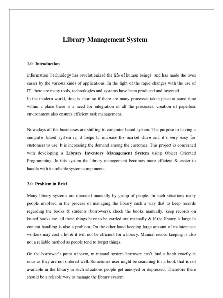 Sample Thesis Of Computerized Library System Research Paper