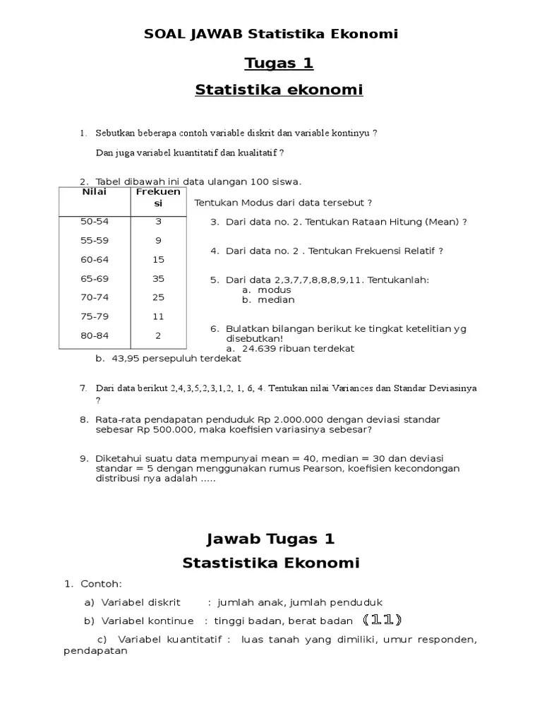 Soal dan pembahasan statistika dasar 1 2 istana mengajar. Contoh Soal Dan Jawaban Statistik Ekonomi 2