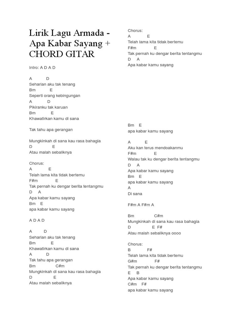 Chord Armada Apa Kabar Sayang : chord, armada, kabar, sayang, Lirik, Armada, Kabar, Sayang