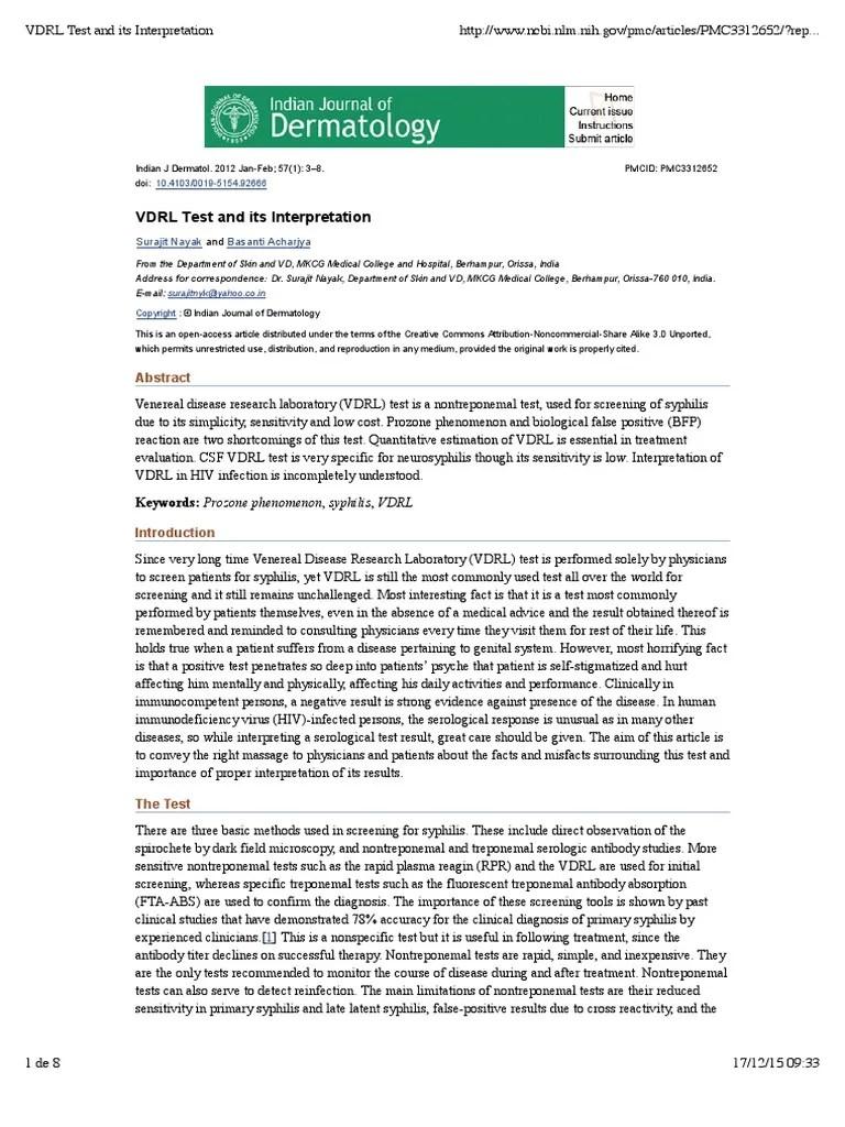 VDRL Test and Its Interpretation   Infection   Public Health